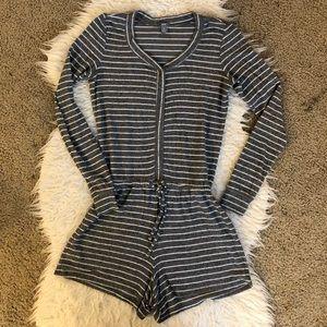 Aerie gray white stripe sleep romper
